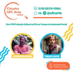 Imagem de divulgação da live com foto dos produtores Henrique Rocha e Tobias Gaede